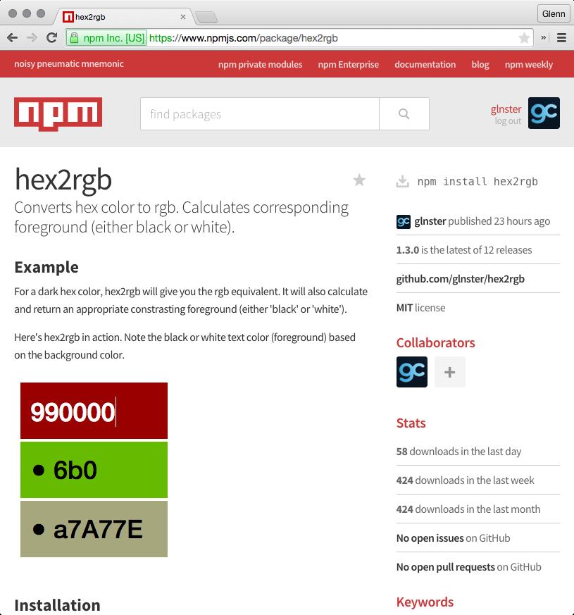 hex 2 RGB NPM