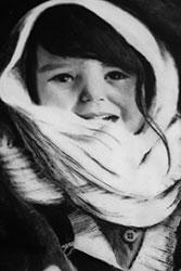 Charcoal illustration of little Eskimo girl